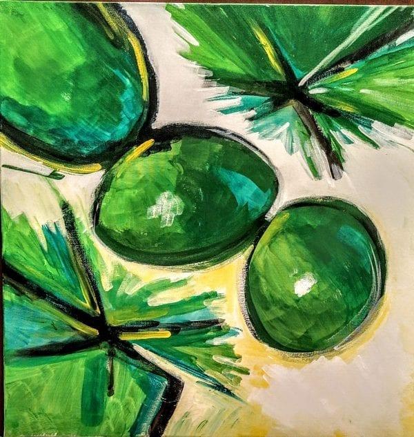 RAFFAELE DRAGANI, GREEN BUBBLES, olio ed acrilico su tela, 60x60 , 2019
